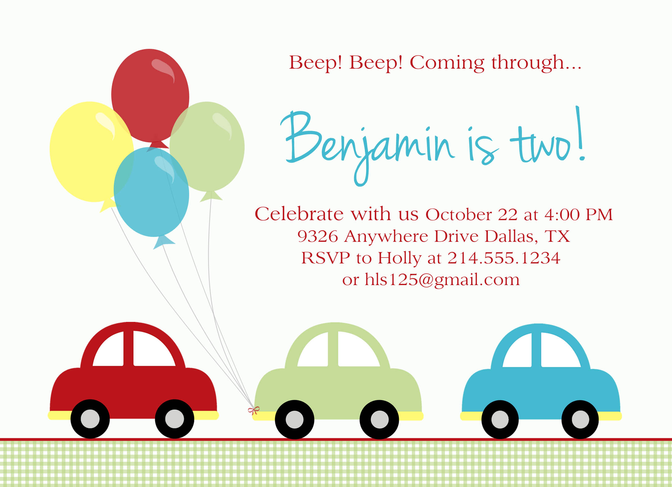 Car Birthday Party – Car Party Invitations