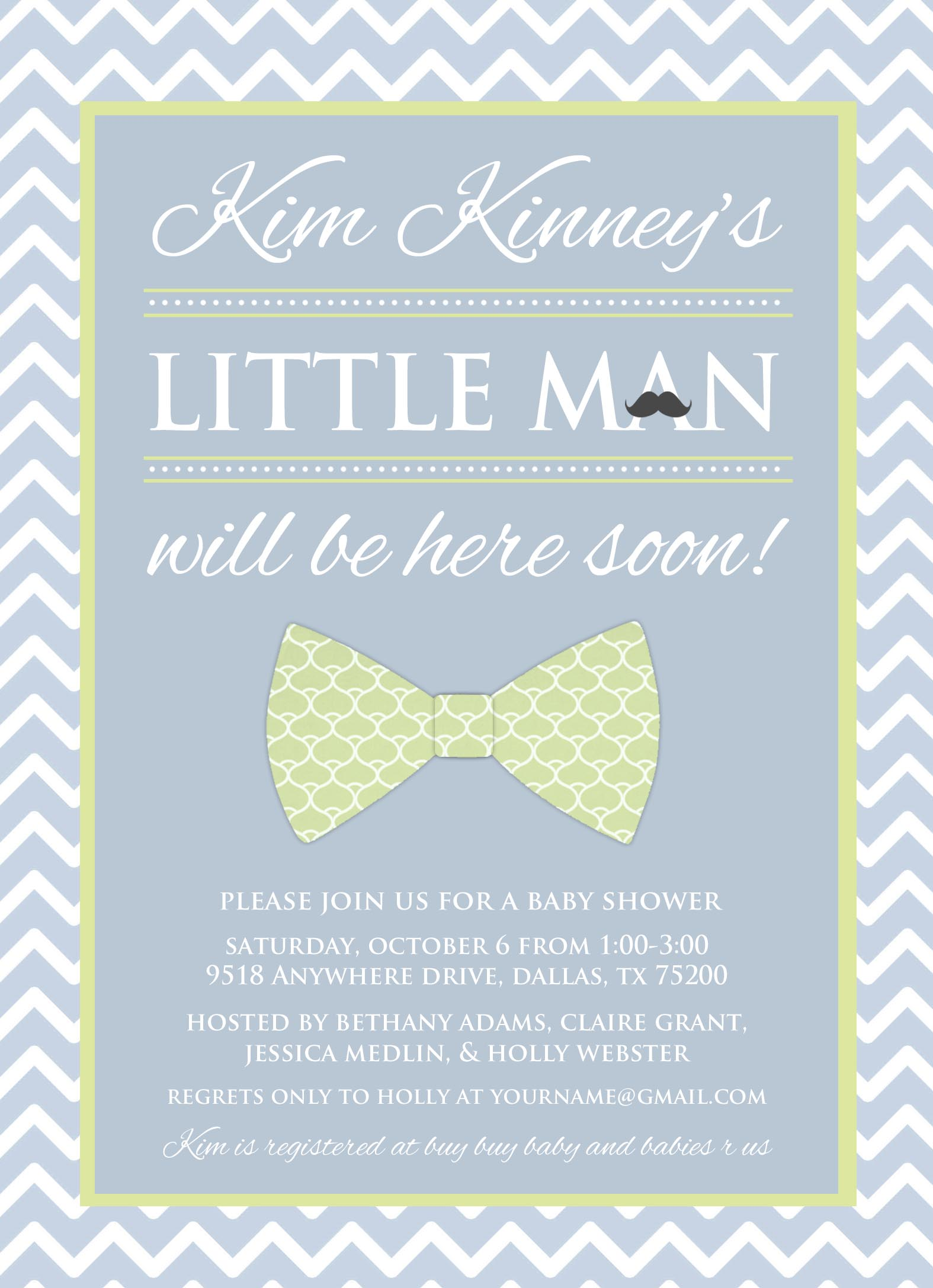 Baby Shower Invitations Bow Tie as awesome invitation template