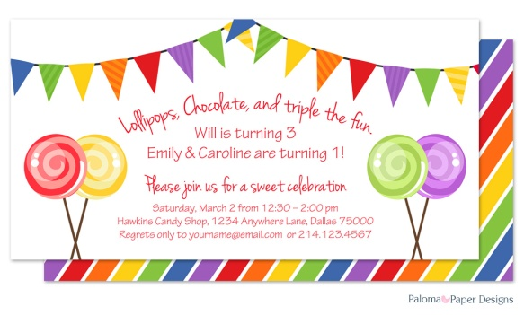 Candy Birthday Party Invitation by Paloma Paper Designs